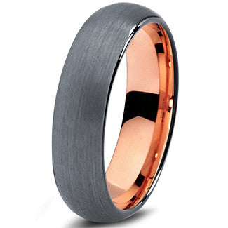 6mm 18k Rose Gold Plated Brushed Dome Cut Tungsten
