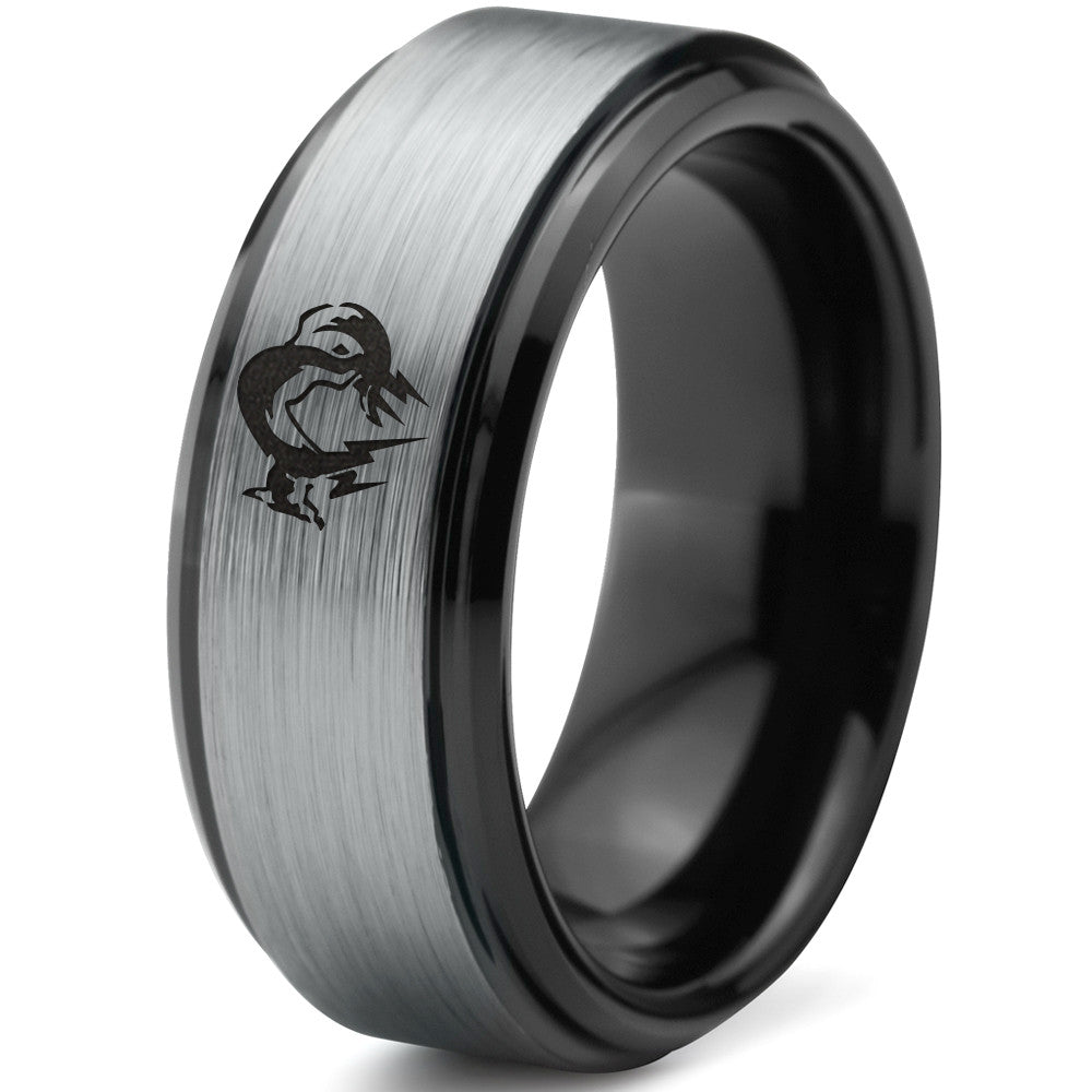 Metal Gear Solid Foxhound Black Beveled Tungsten Ring