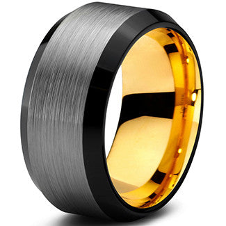 10mm Yellow Gold Tungsten Beveled Silver Pipe Cut - Zealot