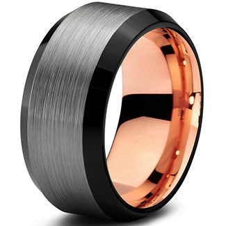 10mm Rose Gold Tungsten Beveled Silver Pipe Cut