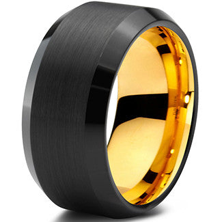 10mm Yellow Gold Tungsten Beveled Black Pipe Cut - Zealot