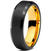 6mm Yellow Gold Tungsten Beveled Black Pipe Cut - Zealot
