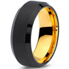 8mm Yellow Gold Tungsten Beveled Black Pipe Cut - Zealot
