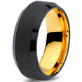 8mm Yellow Gold Tungsten Beveled Black Pipe Cut