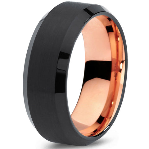8mm Black Rose Gold Tungsten Beveled