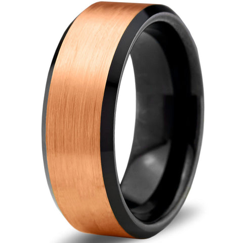 8mm Rose Gold Tungsten Black Beveled Pipe Cut
