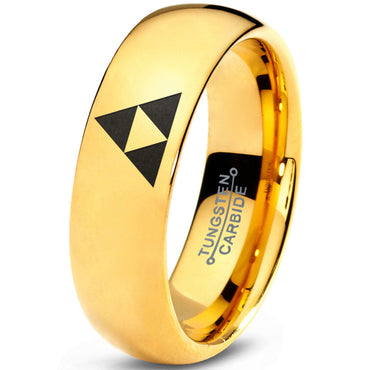 Holiday Sale! Triforce 18k Yellow Gold Dome Cut Tungsten Brushed Ring
