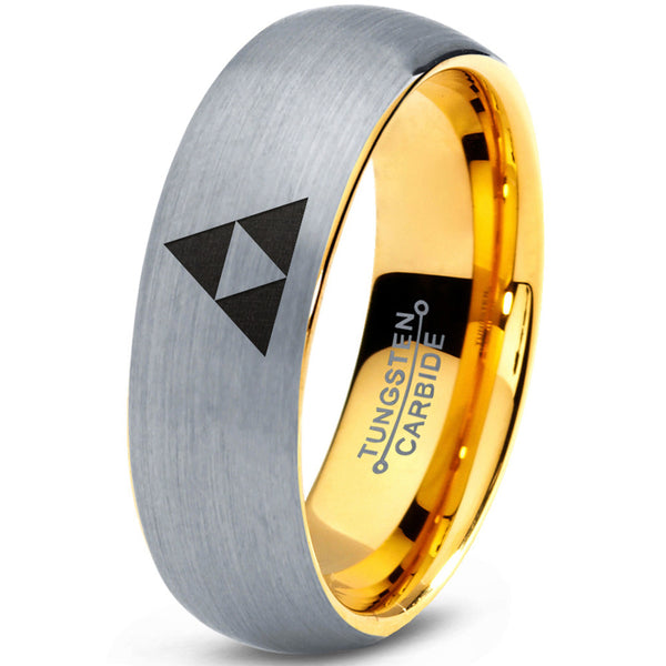 Triforce 18k Yellow Gold Dome Cut Silver Tungsten Brushed Ring