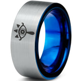 Zelda Sheikah Eye Silver Blue Tungsten Ring
