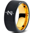 Zelda Breath of the Wild Black Yellow Gold Tungsten Ring
