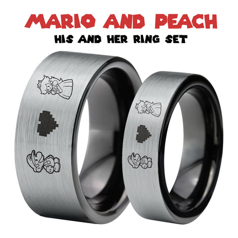 Mario and Peach Silver and Black Tungsten Ring Set