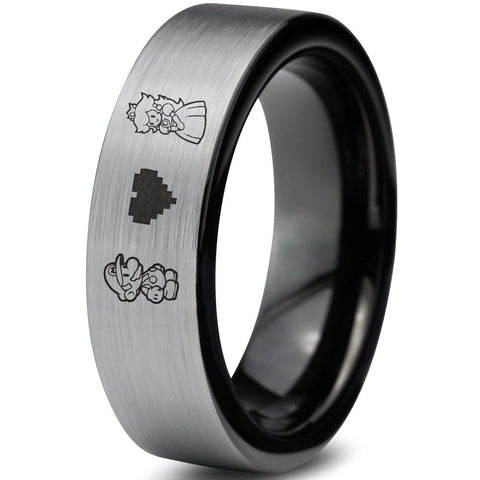 Mario and Peach Silver Brushed Black Tungsten Ring