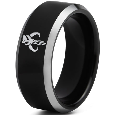 Boba Fett Mythosaur Inspired Silver Beveled Black Tungsten Ring