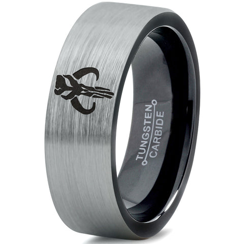 Boba Fett Mythosaur Inspired Black Brushed Tungsten Ring