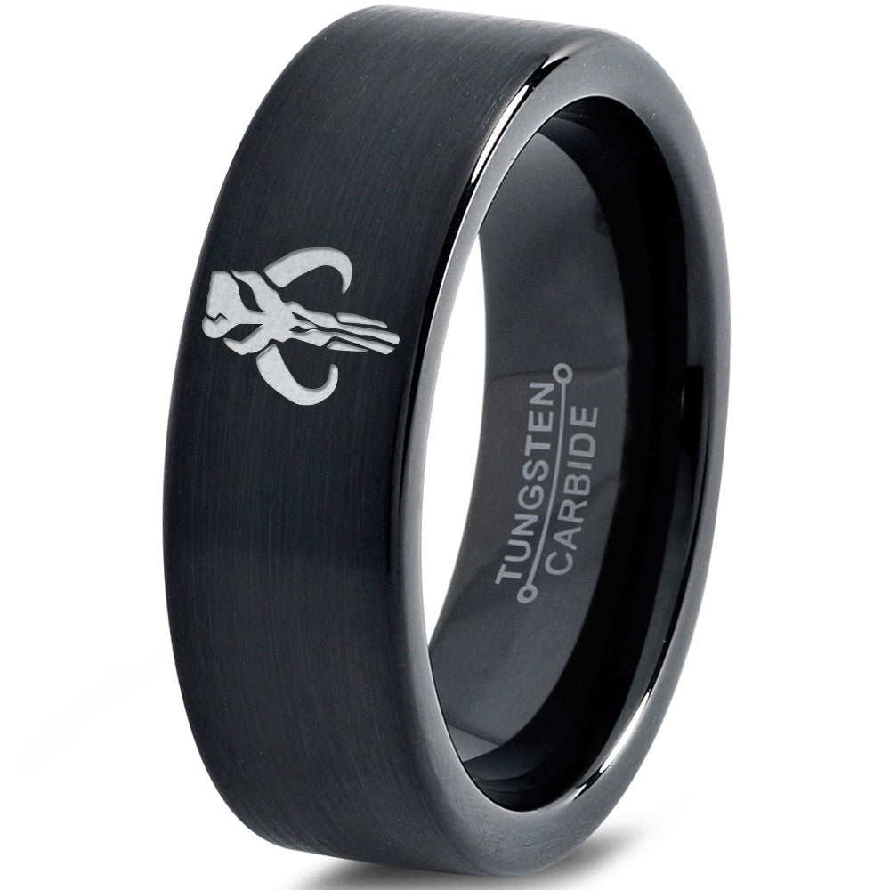 Boba Fett Mythosaur Inspired Black Tungsten Wedding Band Ring