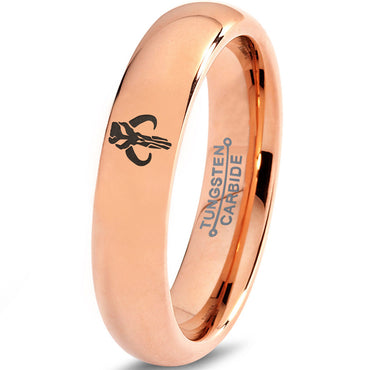 Boba Fett Mythosaur Inspired 18k Rose Gold Dome Tungsten Ring