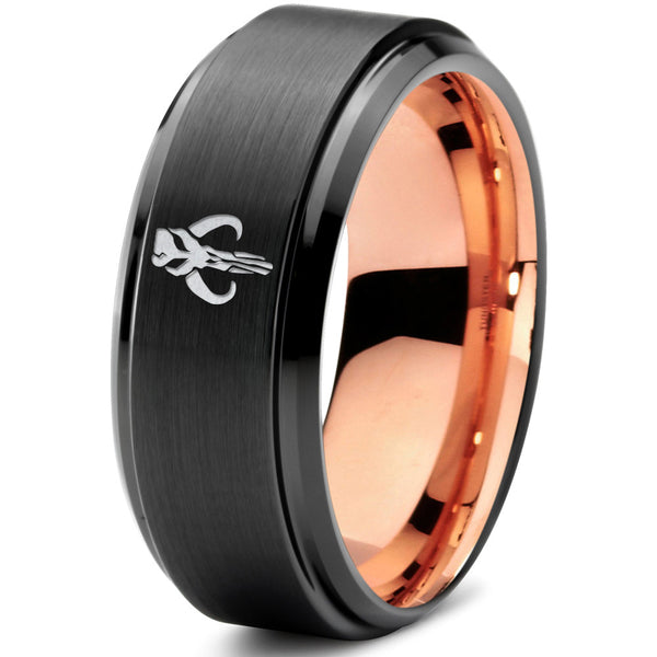 Star Wars Mythosaur 18k Rose Gold Black Step Bevel Tungsten Ring