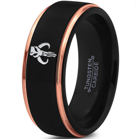 Mandalorian Mythosaur Black 18k Rose Gold Step Bevel Tungsten