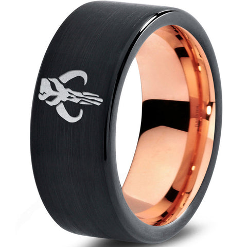 Star Wars Mythosaur 18k Rose Gold Black Tungsten Ring