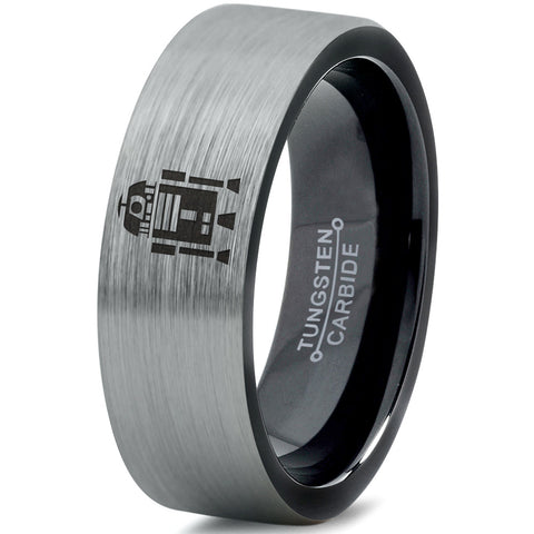 R2-D2 Inspired Brushed Tungsten Wedding Band Ring