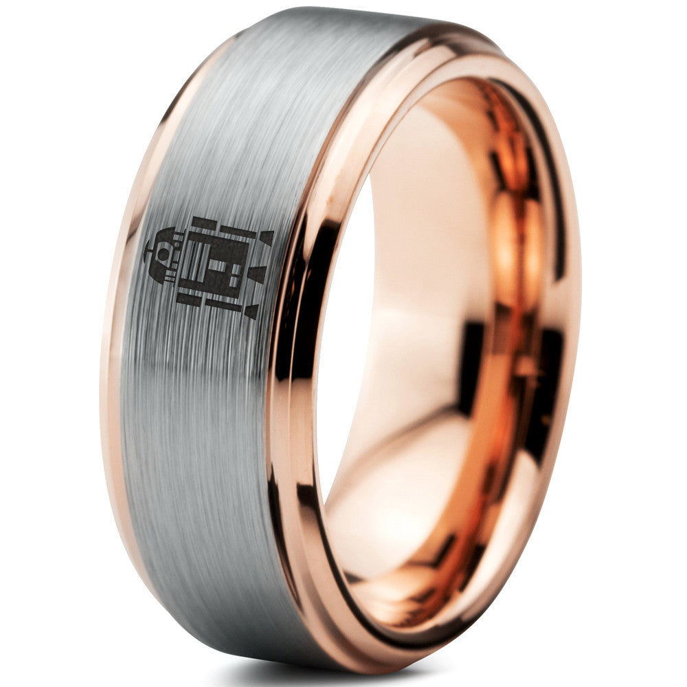 R2-D2 Inspired 18k Rose Gold Step Beveled Tungsten Ring