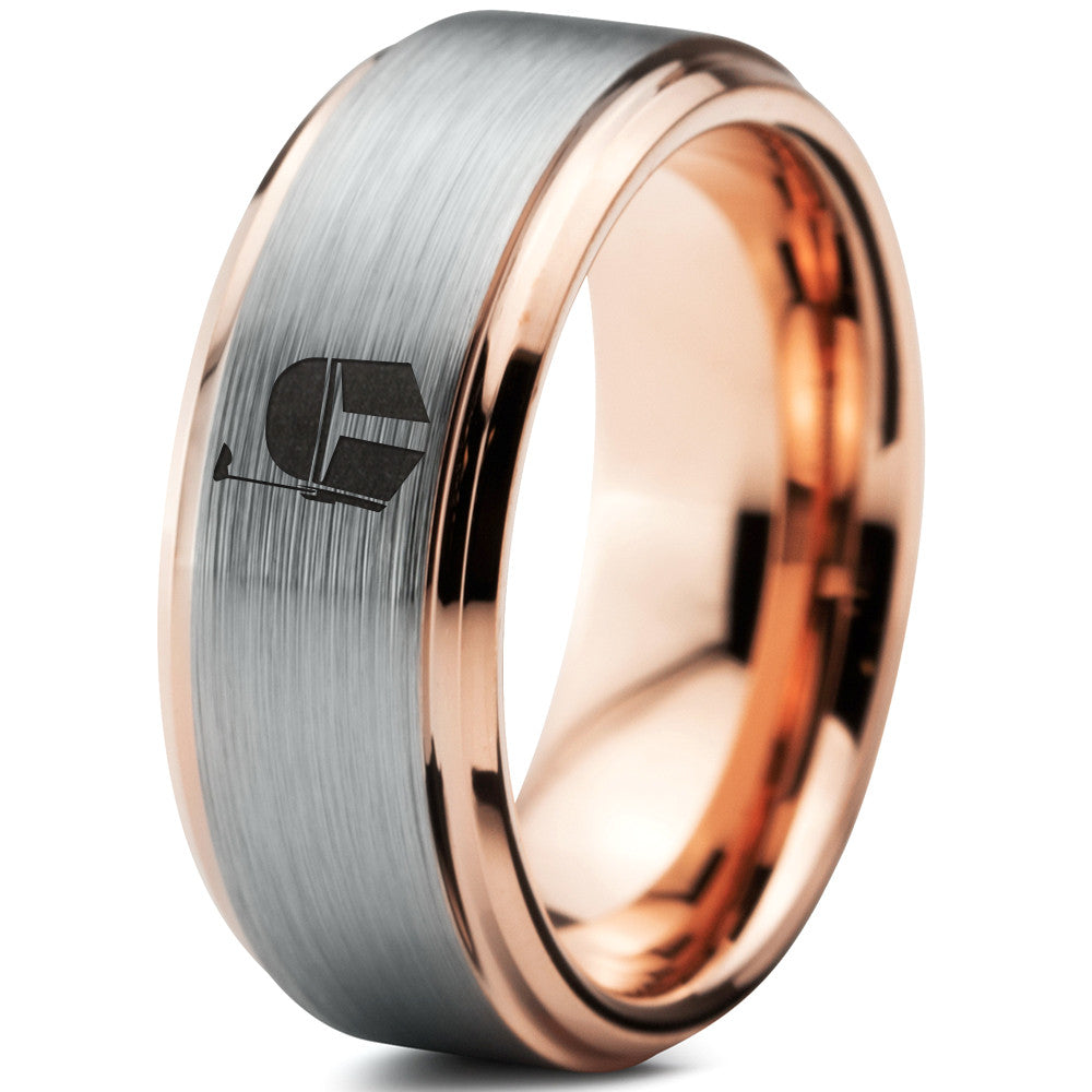 Boba Fett 18k Rose Gold Step Bevel Tungsten Wedding Band Ring
