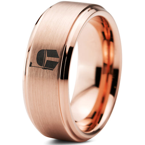 Boba Fett Inspired 18k Rose Gold Step Bevel Tungsten Ring