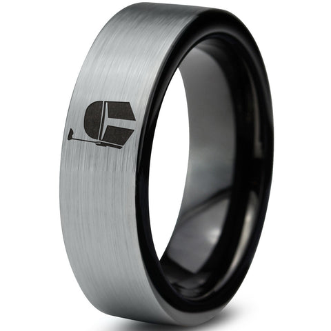 Boba Fett Inspired Tungsten Ring with Black Enamel Plated Interior
