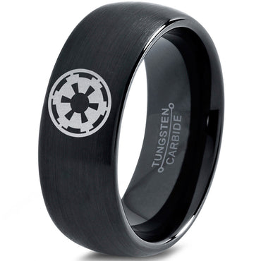 Star Wars Imperial Crest Black Tungsten Dome Ring