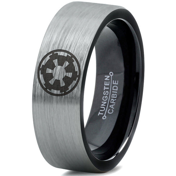 Star Wars Imperial Crest Silver Black Tungsten Ring