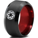 Star Wars Imperial Crest Black Beveled Red Tungsten Ring