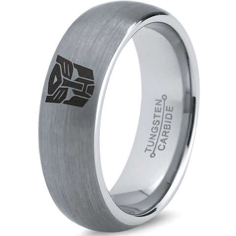 Transformers Autobot Silver Dome Tungsten Ring