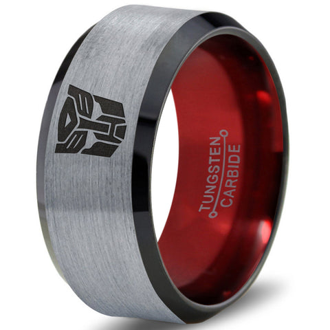 Transformers Autobot Silver Red Black Beveled Tungsten Ring
