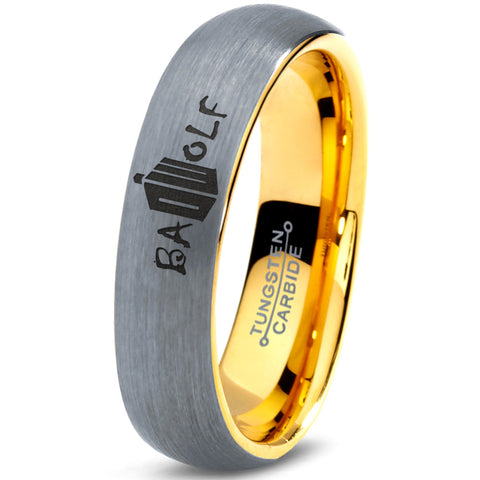 Bad Wolf Doctor Who 18k Yellow Gold Dome Tungsten Ring