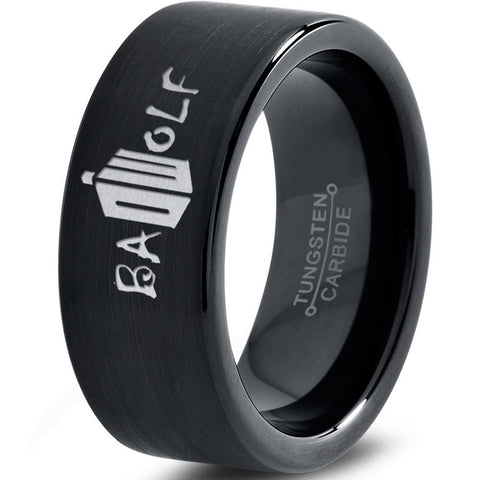 Bad Wolf Doctor Who Black Tungsten Ring