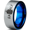Bad Wolf Doctor Who Blue Brushed Tungsten Ring