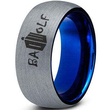 Bad Wolf Blue Brushed Tungsten Dome Ring