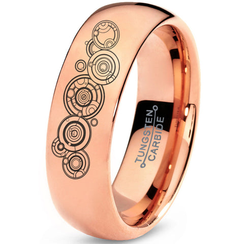 Gallifreyan Doctor Who 18k Rose Gold Dome Tungsten Ring