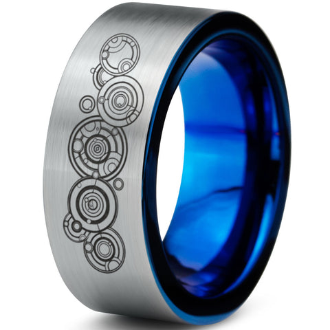 Gallifreyan Doctor Who Silver Blue Tungsten Ring