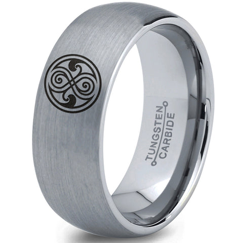 Doctor Who Gallifreyan Sign Silver Dome Tungsten Ring