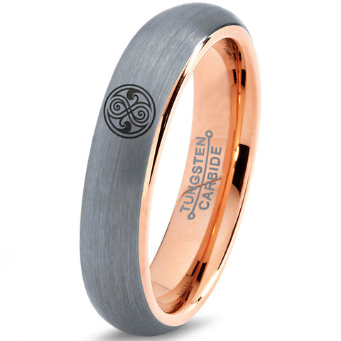 Doctor Who Gallifreyan Sign Silver 18k Rose Gold Dome Tungsten Ring