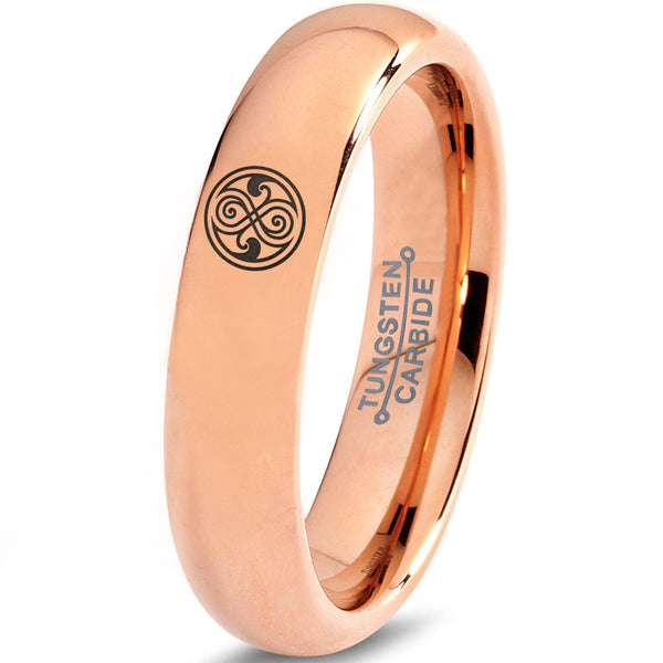 Doctor Who Gallifreyan Sign 18k Rose Gold Polished Dome Tungsten Ring