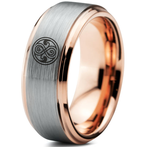 Doctor Who Gallifreyan Sign 18k Rose Gold Bevel Tungsten Ring