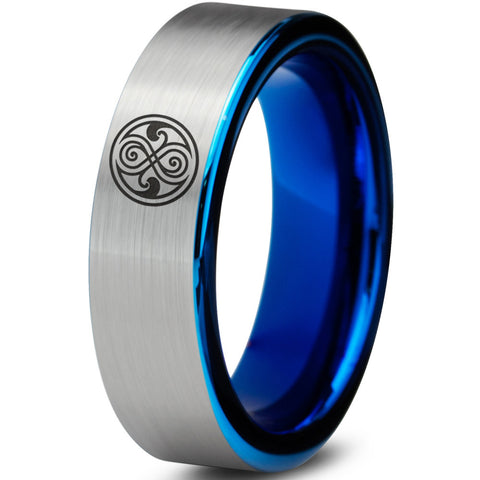 Doctor Who Gallifreyan Sign Silver Blue Tungsten Ring