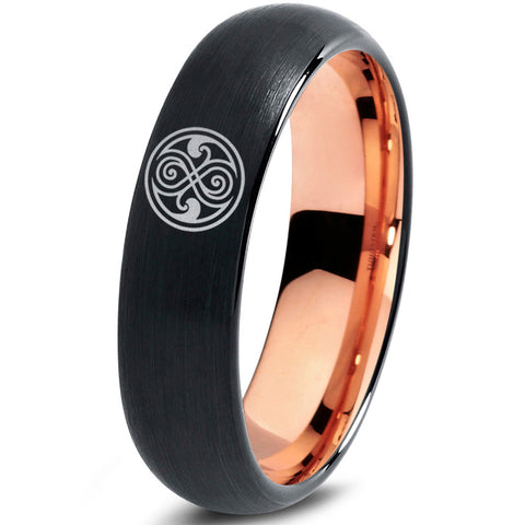 Doctor Who Gallifreyan Sign Black 18k Rose Gold Dome Tungsten Ring