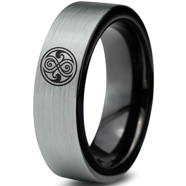 Doctor Who Gallifreyan Sign Silver Black Tungsten Ring