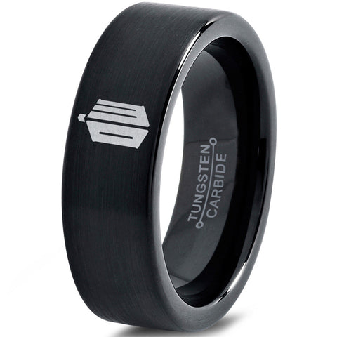 Doctor Who Tardis Black Tungsten Ring