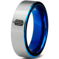 Doctor Who Tardis Silver Blue Tungsten Ring