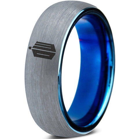 Doctor Who Tardis Silver Blue Dome Tungsten Ring