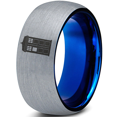 Tardis Doctor Who Silver Blue Dome Tunsten Ring